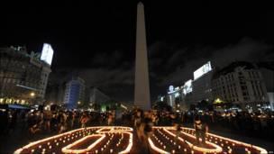 El Obelisco de Buenos Aires en la oscuridad