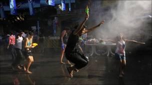 Fiestas en Bangkok por el inicio del año nuevo en Tailandia.