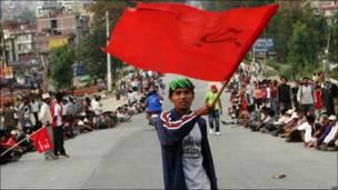 Manifestante en Katmandú, Nepal