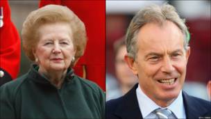 Margaret Thatcher y Tony Blair