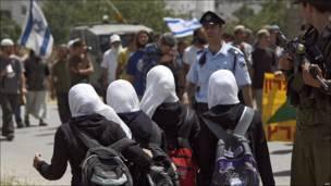 Manifestación de colonos en Hebrón