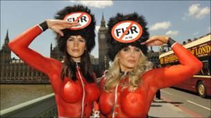 Protestas contra el uso de piel  de animales