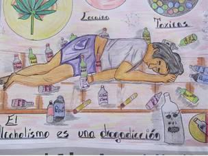 """Dibujo """"el alcohol es una droga"""""""