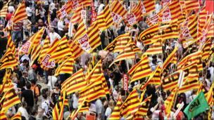 Protesta de funcionarios públicos en Barcelona, Spain.
