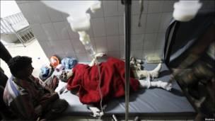 Пострадавший в больнице с родственниками