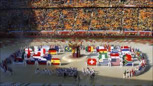 Banderas en la ceremonia.