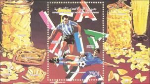 Sello de Islas Comores del Mundial de 1990