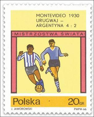 Sello polaco conmemorando triunfo de Uruguay en el Mundial de 1930