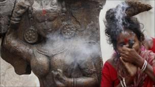 Una mujer fuma ganja
