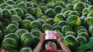 Un vendedor de sandías chino