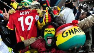 Fans de la selección de Ghana.
