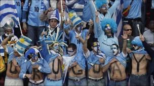 Seguidores de la selección de Uruguay en el partido de octavos.