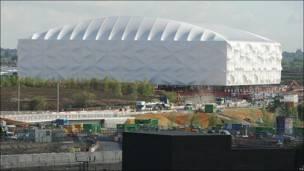 Ya dentro del Parque Olímpico los estadio van tomando forma