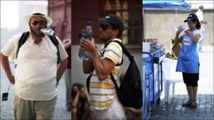 3 personas con botellas de agua
