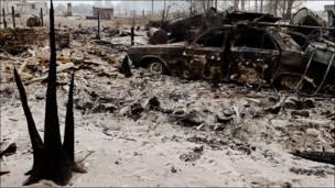 Деревня Верхняя Верея после пожара
