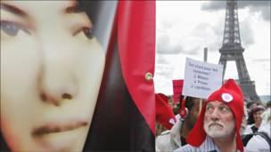 تظاهرات برای سکینه محمدی آشتیانی در پاریس