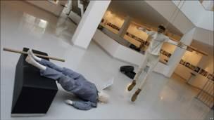 """Una escena de la exhibición """"El museo de la vergüenza"""", en Ankara, Turquía."""