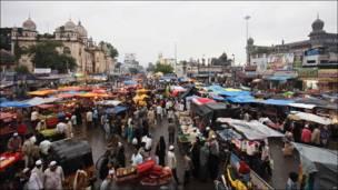 Panorámica del mercado de Hyderabad, India