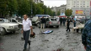 Место взрыва во Владикавказе