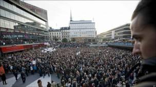 Protestas en contra del racismod en Estocolmo, Suecia