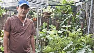 Ramiro Romero, vende plantas medicinales y ornamentales
