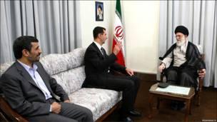 آیت الله خامنه ای، بشار اسد، محمود احمدی نژاد
