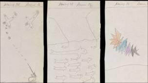 """Dibujos de """"Richard"""" de los casos de la psicoanalista Melanie Klei (1941-1942) (Foto: Wellcome Library)"""