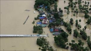 Área inundada en Tailandia