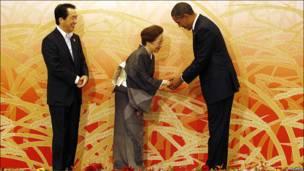 اوباما و همسر نخست وزیر ژاپن