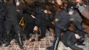 Разгон протестов в Белоруссии