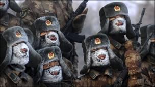 Китайские солдаты с инеем на лицах