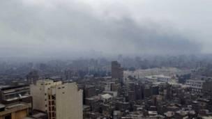 """الدخان يغطي سماء القاهرة مساء """"جمعة الغضب"""""""