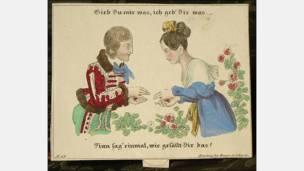 Tarjeta hecha en Nuremberg, Alemania, alrededor de 1810. Cortesía: Nancy Rosin.