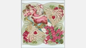 Litografía con encaje, hecha en Estados Unidos por Frances Brundage, alrededor de 1900. Cortesía: Nancy Rosin.