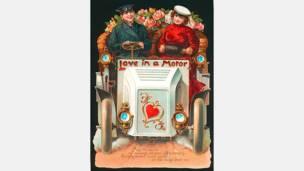 """""""Amor en Movimiento"""", litografía que aludía a la popularidad de los recién aparecidos autos, alrededor de 1900. Cortesía: Nancy Rosin."""