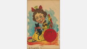 La vieja doncella, historieta sobre San Valentín, Estados Unidos, alrededor de 1880. Cortesía: Nancy Rosin.