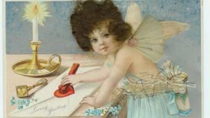 Postal de querubín, litografía con cabellos reales, alrededor de 1910. Cortesía: Nancy Rosin.