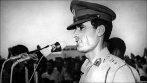 Libyan leader Colonel Moammar Gaddafi in Tripoli after the military putsch