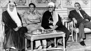 King Faisal of Saudi Arabia, Libyan leader Muammar al-Gaddafi, Yemeni President Abdul Rahman Iryani of the Yemen Arab Republic and President Gamal Abdel Nasser of Egypt, pictured in Cairo, September 1970.