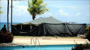 The tent set up in the grounds of a hotel on Margarita Island, Venezuela, ahead of the South America - Africa Summit, for Libya's President Muammar Gaddafi, September 2009.