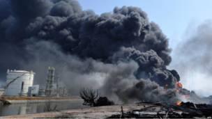 Клубы дыма над городом Тагадзе