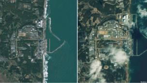 """АЭС """"Фукусима-1"""" и окрестности в 2009 и 2011 году"""