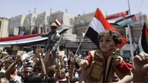 متظاهرون يمنيون
