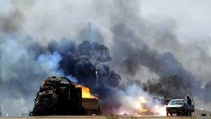 Очередной авиаудар коалиции по позициям войск Каддафи