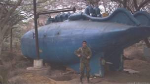 Submarino narco capturado cerca de la costa Caribe de Colombia en Agosto de 2007