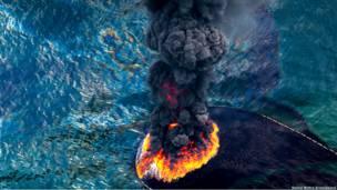 Fuego y humo en Golfo de Mexico