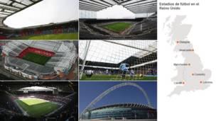 Hampden Park, Glasgow; St James' Park, Newcastle; City of Coventry Stadium; Wembley Stadium, Londres; Millennium Stadium, Cardiff and Old Trafford, Manchester