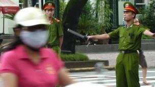 Cảnh sát quanh khu vực Tòa án Nhân dân Tối cao