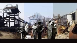 Семмі Балої з Демократичної Республіки Конго знайшла старі чорно-білі фото шахтобудівної кампанії бельгійських колонізаторів. Він зіставив їх з сучасними кольоровими фото занепадаючої інфраструктури шахт.