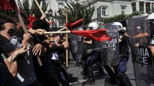 Протест греческих студентов в Афинах